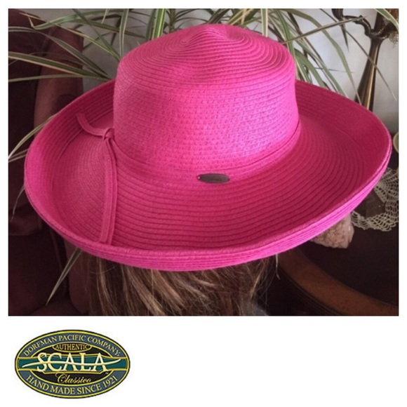 3f979f767c8 SCALA Hot Pink Hat Bretton-Style Summer Hat. M_58e56db4291a35803300cdba