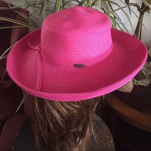 Scala Accessories - SCALA Hot Pink Hat Bretton-Style Summer Hat