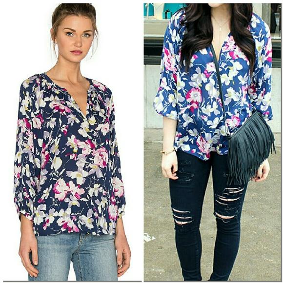1616a92af879 Joie Tops | Mckenna Silk Floral Blouse Top Navy Blue Xxs | Poshmark