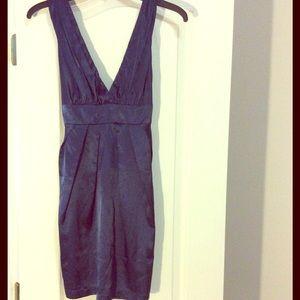 Navy Deep-V Silk Dress