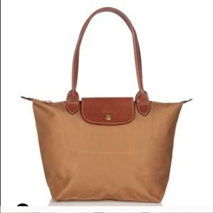 Authentic Long champ small tote beige