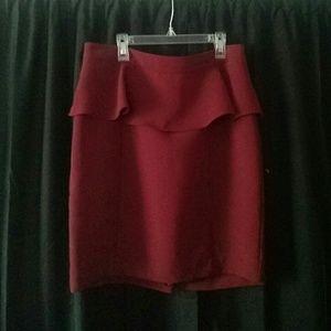 Maroon Peplum Pencil Skirt