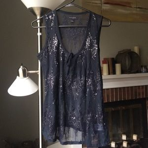 Navy Sheer and sequins tank for a fancy night out