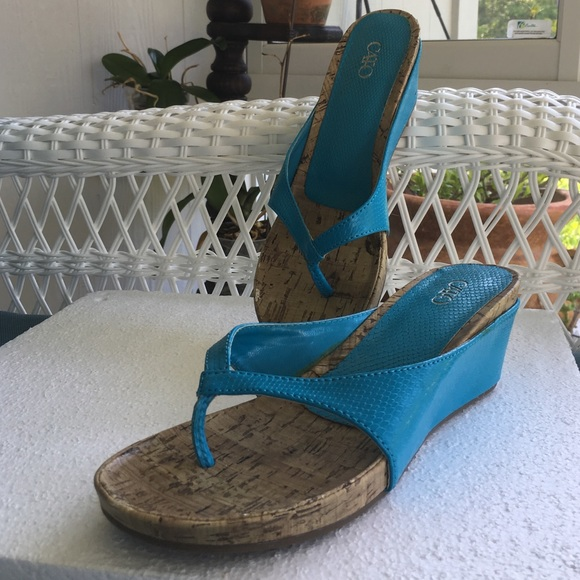 2756bd96fac Cato Fashion size 7 turquoise wedge sandals