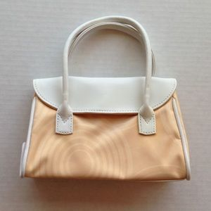 Saks Fifth Avenue Handbags - 🆕Mini Purse Cosmetic Bag Peach White Leather Saks