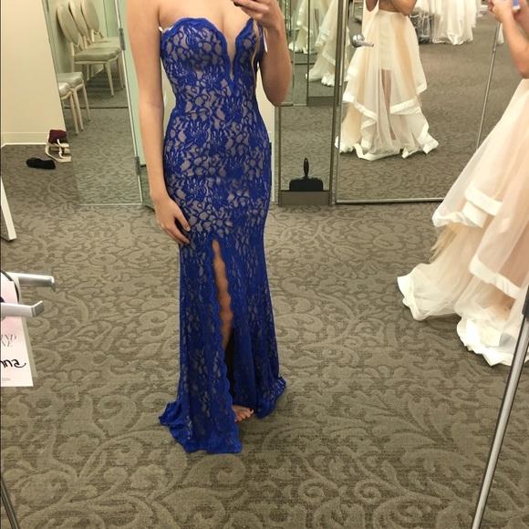 be00d6d7fd3766 David s Bridal Dresses   Skirts - Blue Lace Prom Dress David s Bridal