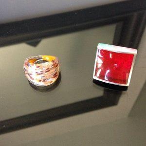 Jewelry - Glass & metal ring set