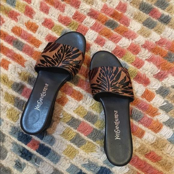 feb4a5a144c6 Yves Saint Laurent Shoes | Pony Hair Platform Slides | Poshmark