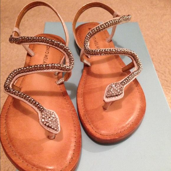53 Off Antonio Melani Shoes Antonio Melani Silver Snake🐍sandals From