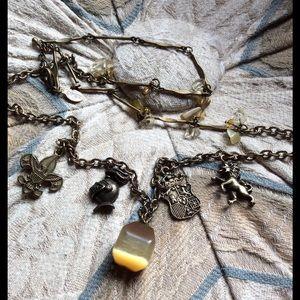 Vintage Jewelry - Handmade Lion Eagle Knight Crest Charm Stone Neck
