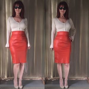 Dresses & Skirts - NEW DEEP ORANGE FAUX LEATHER PENCIL SKIRT