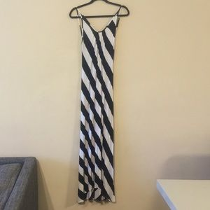 Stunning Open Back Black White Striped Maxi Dress