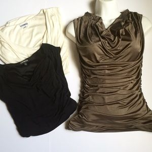 3 Draped Cowl Neck Tops XS