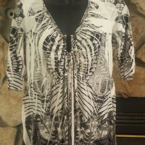 Tops - 3/4sleeve boho chic tunic with decorative metal  M
