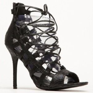 Wild Diva Shoes - Wild Diva Lounge Black Snake Corset Stiletto Heel