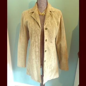 Vintage Sea Foam Green Suede Leather Jacket Small