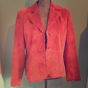 Vintage Red Suede Leather Jacket Blazer Small