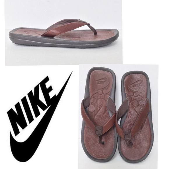best sneakers e51ac c73c8 nike brown leather sandals