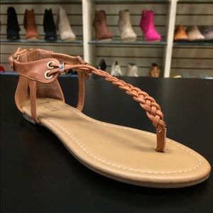 Camel Braided Flat Sandals