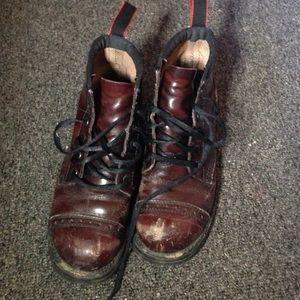 Maroon Doc Marten style combat boots boots