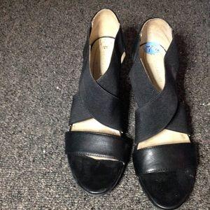 Beautiful black leather criss cross heels