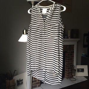 Aryn K. Black & white stripe sleeveless sheer top