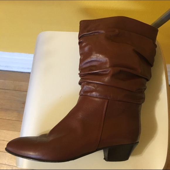 Vintage - WIDE CALF slouch leather boot from Meg's closet on Poshmark