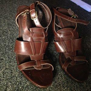 J.Crew brown straps heels