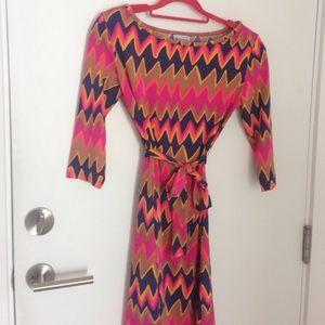 Emilio Pucci Print 3/4 sleeves jersey dress + belt