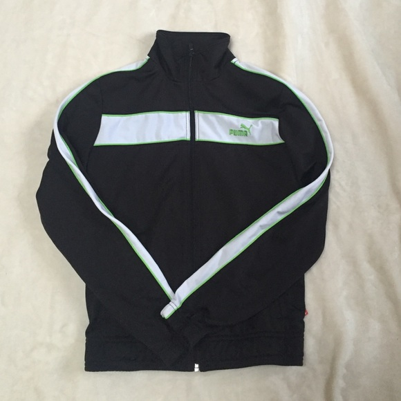 PUMA track jacket black with white and lime green