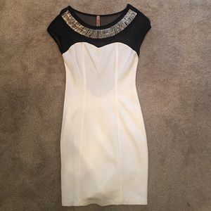 Dresses & Skirts - White Embellished Sheer Top Dress