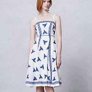 Anthropologie Dresses & Skirts - Moulinette Soeurs White Grecian cobalt Blue Dress