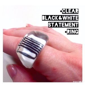 Jewelry - •FUNKY CLear BLack & WhiTe STaTemenT Ring•
