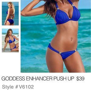 Venus Goddess Enhancer Swim Suit Top. Cobalt blue.