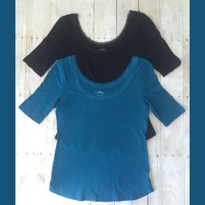 Old Navy Lightweight Knit Tops With Chiffon Fray