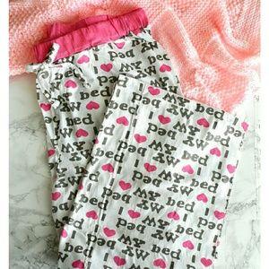"""""""I Love My Bed"""" Cozy Pajama Pants Hearts"""