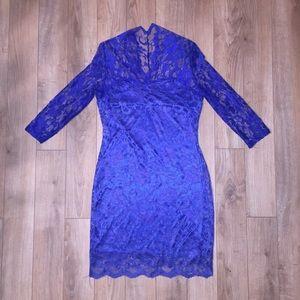 Dresses & Skirts - Royal blue lace lined 3/4 sleeve dress