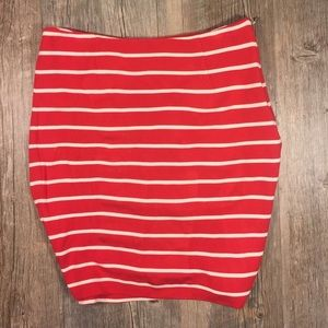 Banana republic red and white stretch pencil skirt