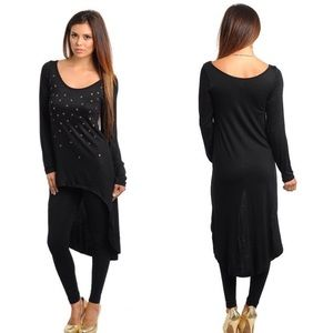 CLEARANCE Black Skull Long Sleeve Tunic Top