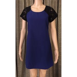 BLUE DRESS WITH BLACK LACE SLEEVES SIZE MEDIUM