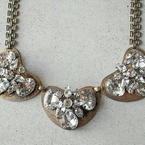 Gold heart crystal statement bib necklace