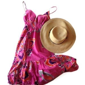 Pink ikat floral boho dress Old Navy