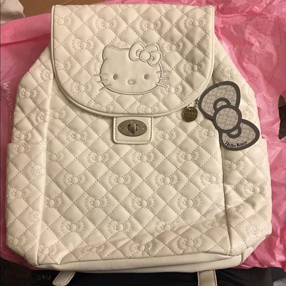 20442b2524cc White Hello Kitty Leather Backpack Bag