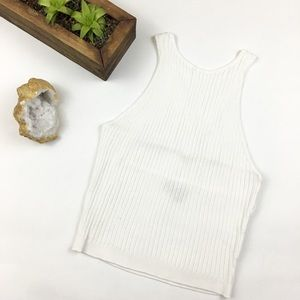 Tops - Sleeveless Cross-Back Ribbed Crop Top