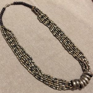 Jewelry - 🔴Multi-strand Silver Metal & Stone Bead Necklace