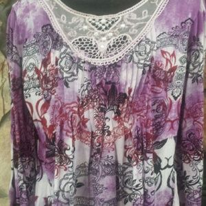 Tops - M. 3/4 sleeve purple pink pattern with lace inset.