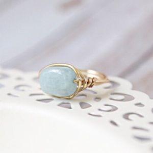 LucyMint Jewelry - Blue Amazonite Wire Wrapped Ring