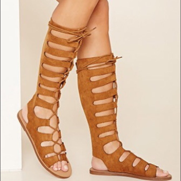 bf43820a4b8a Forever 21 Shoes - Faux Suede Lace-Up Gladiator Sandals