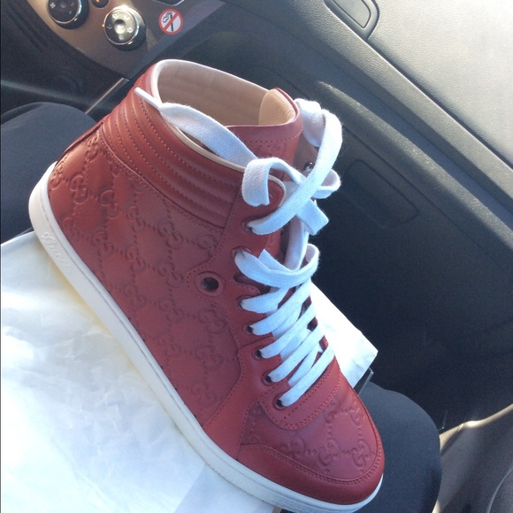 Gucci Shoes | Womens Red Gucci Sneakers