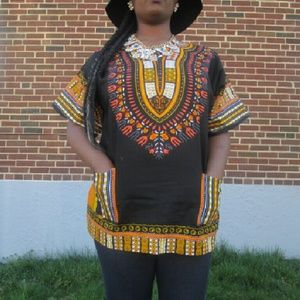 Boutique Tops - Black and Gold Royal Traditional Dashiki